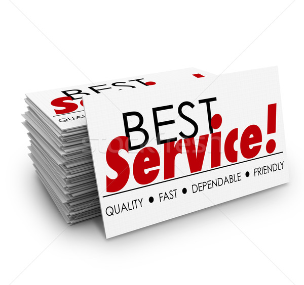 Best Service Quality Dependable Fast Friendly Business Cards Stock photo © iqoncept