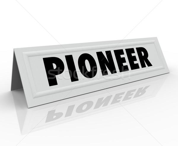 пионер слово название палатки карт первый Сток-фото © iqoncept