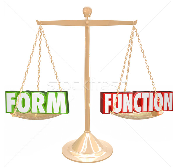 Form Over Vs Function Words Gold Scale Style Substance Stock photo © iqoncept