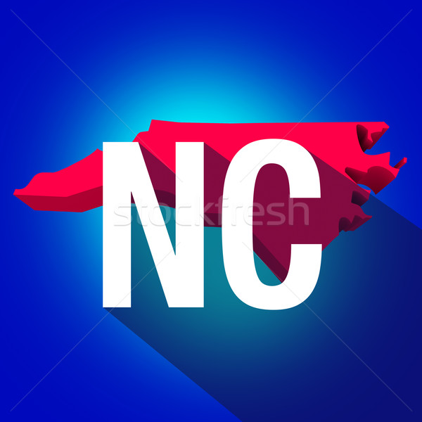 North Carolina NC Letters Abbreviation Red 3d State Map Long Sha Stock photo © iqoncept