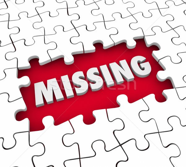 Missing Puzzle Pieces 3d Word Find Solve Lacking Absent Solution Stock photo © iqoncept