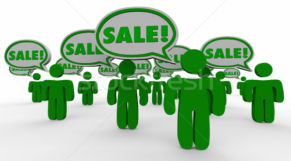 Sale Deal New Customers Speech Bubbles Green 3d People Stock photo © iqoncept