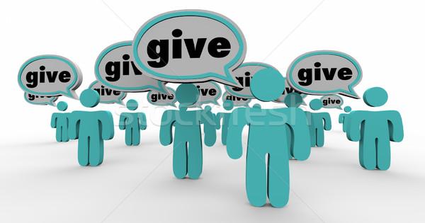 Give Generous People Sharing Donate Contribute Speech Bubbles Stock photo © iqoncept