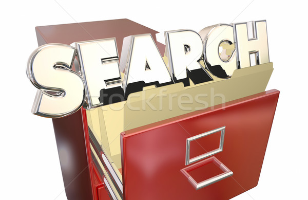 Stock photo: Search Word Filing Cabinet Find Look for Locate Information