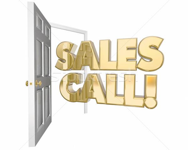 Eladó hívás látogatás bemutató nyitott ajtó szavak Stock fotó © iqoncept
