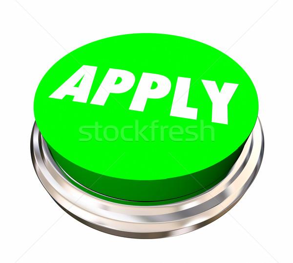 Aplicação botão entrevista de emprego ilustração 3d trabalhando trabalhador Foto stock © iqoncept