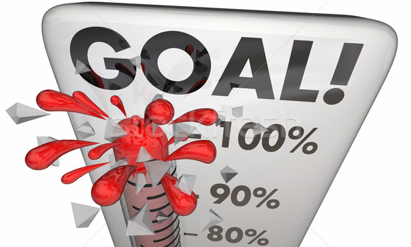 Goal Achieved 100 Percent Results Met Thermometer 3d Illustratio Stock photo © iqoncept