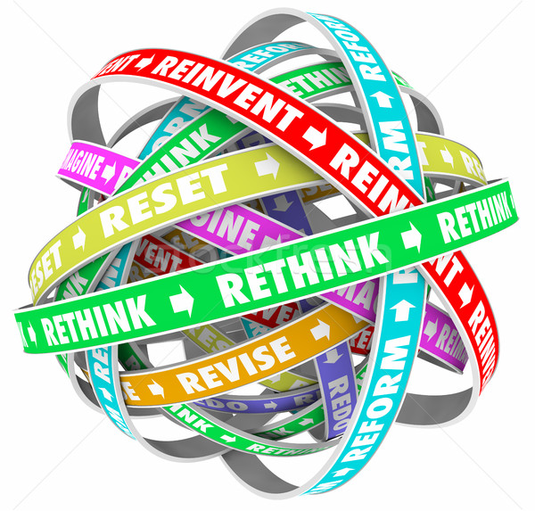 Rethink Reinvent Reimagine Reset Words Loops 3d Illustration Stock photo © iqoncept