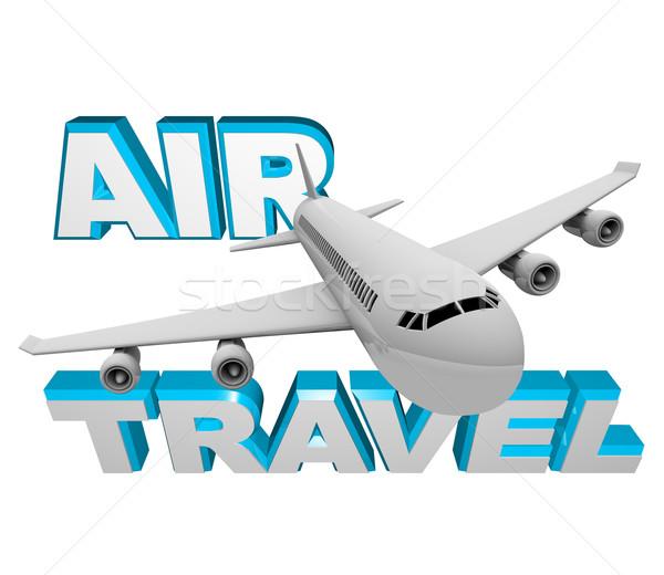 Воздушные путешествия самолет полет отпуск бизнеса книга Сток-фото © iqoncept