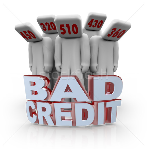 Stock photo: Bad Credit Scores - People Depressed with Number Heads