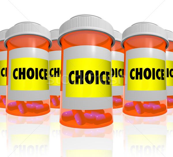 Választás választ sok recept üvegek narancs Stock fotó © iqoncept
