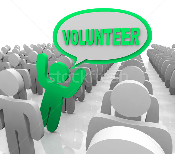 Volunteer Speech Bubble Person in Helper Crowd Stock photo © iqoncept
