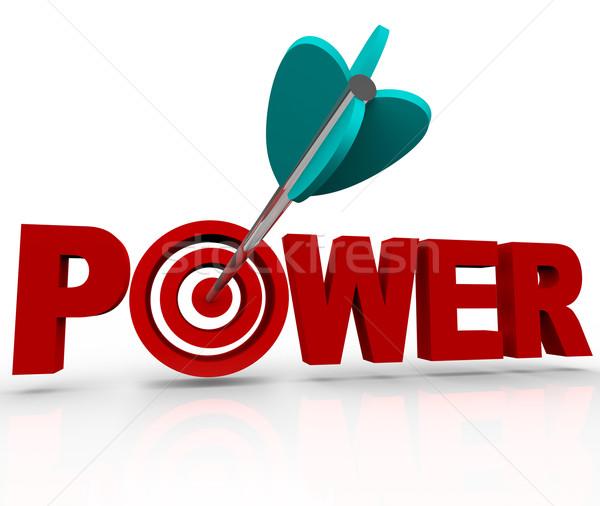 Macht woord pijl sterkte target Stockfoto © iqoncept