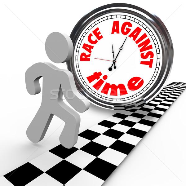 Race Against Time Clock vs Runner Finish Line Stock photo © iqoncept