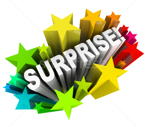 Surprise Starburst Word Exciting News Information Stock photo © iqoncept