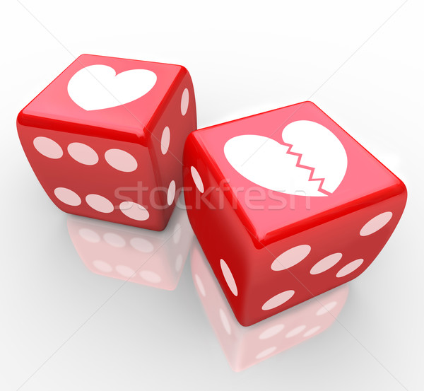 Broken Heart on Dice Risking Love Relatioship Hearts Stock photo © iqoncept