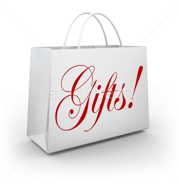 Ajándékok szó bevásárlószatyor ajándék ünnep bolt Stock fotó © iqoncept