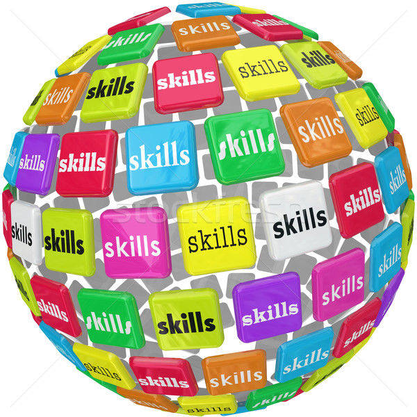 Skills Word on Sphere Ball Required Experience Job Career Stock photo © iqoncept