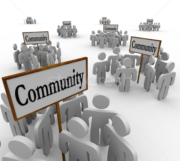 Community People Groups Around Signs Society Friendship Neighbor Stock photo © iqoncept