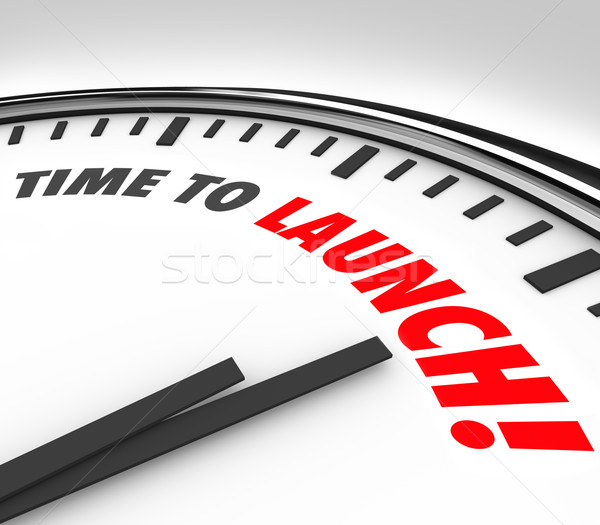 Stock photo: Time to Launch Clock Deadline Countdown New Business Product Com