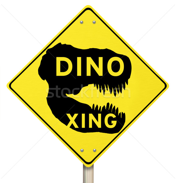 Dino Xing Dinosaur Crossing Yellow Warning Road Sign Stock photo © iqoncept