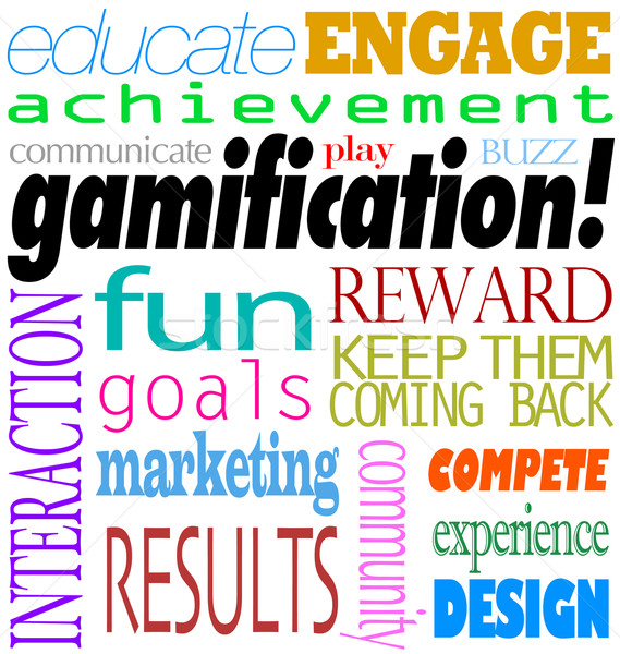 Gamification Words Interaction Education Engagement Achievement Stock photo © iqoncept