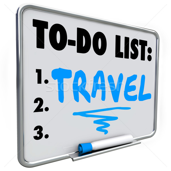 Travel To Do List Dream Vacation Wish Priorities Word Stock photo © iqoncept