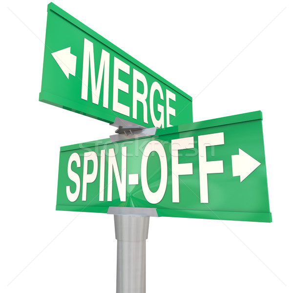 Merge Vs Spin-Off Words Two Way Road Signs Stock photo © iqoncept