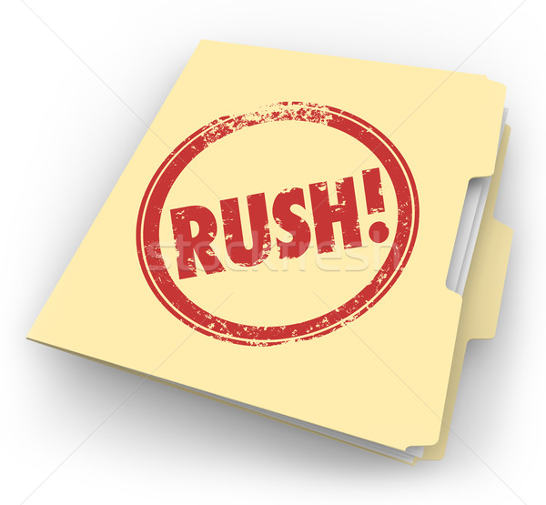 Rush Word Stamped Manila Time Sensitive Folder Documents Paperwo Stock photo © iqoncept