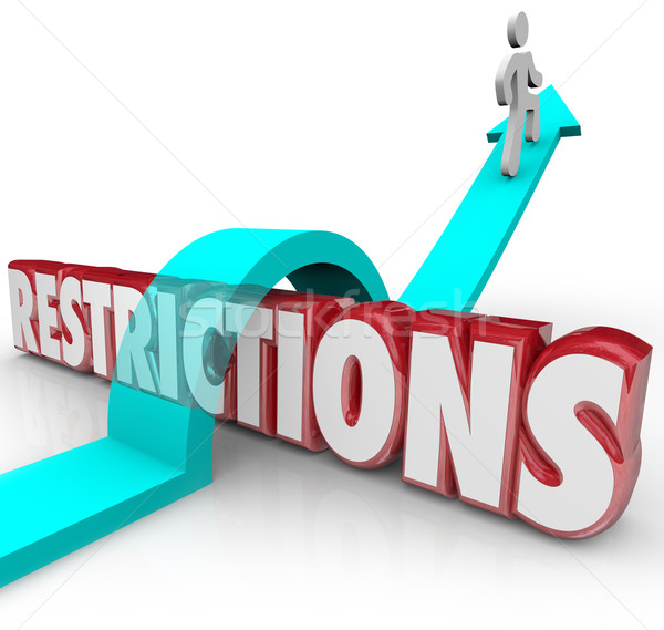 Restrictions Word Arrow Jumping Over Rules Regulations Overcomin Stock photo © iqoncept