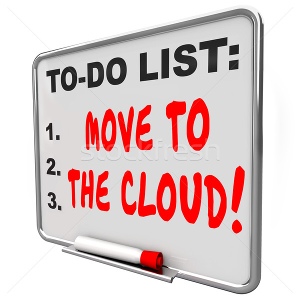 Move to the Cloud Words Message Board Internet Online Based Serv Stock photo © iqoncept