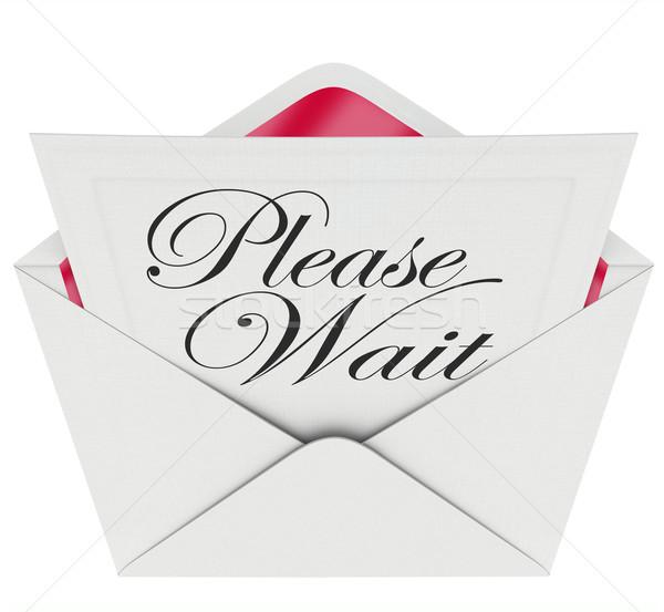 Invitation patient retarder fin mots Photo stock © iqoncept