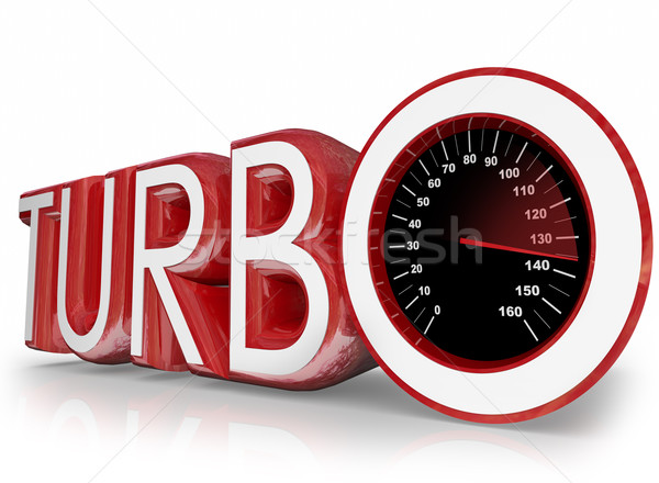 Turbo Red 3d Word Speedometer Fast Racing Stock photo © iqoncept