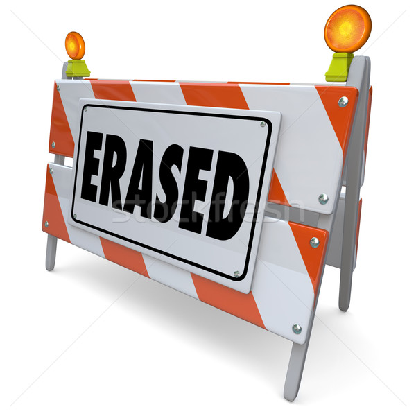 Erased Warning Sign Problem Corrected Fixed Removed Deleted Stock photo © iqoncept