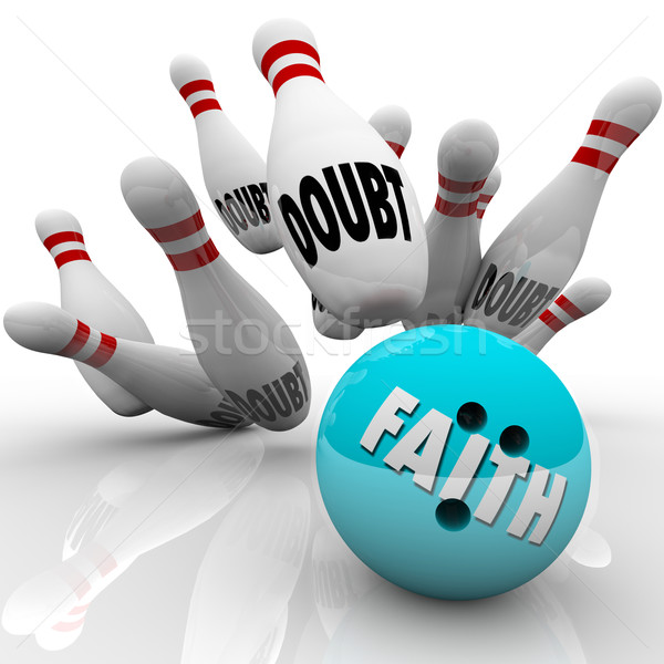 Faith Vs Doubt Bowling Ball Religion Belief Confidence Hope Stock photo © iqoncept