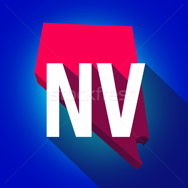 Nevada NV Letters Abbreviation Red 3d State Map Long Shadow Stock photo © iqoncept