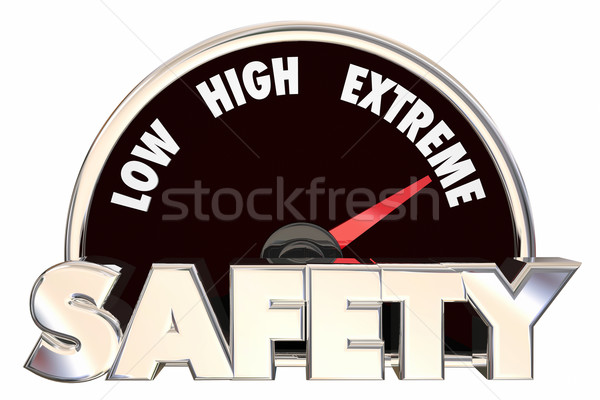 Safety Security Words Gauge Measure Maximum Protection 3d Stock photo © iqoncept