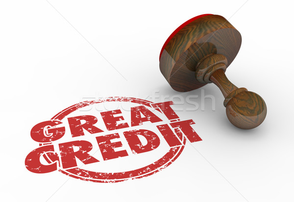 Great Credit Score Rating Borrow Money Stamp Words 3d Illustrati Stock photo © iqoncept