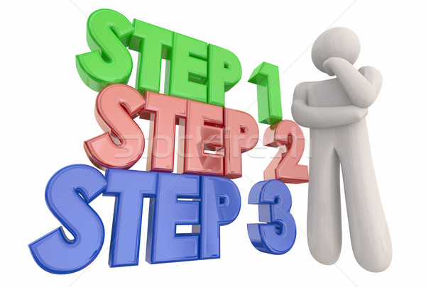 Krok proces procedura myśliciel 3d ilustracji pracy Zdjęcia stock © iqoncept