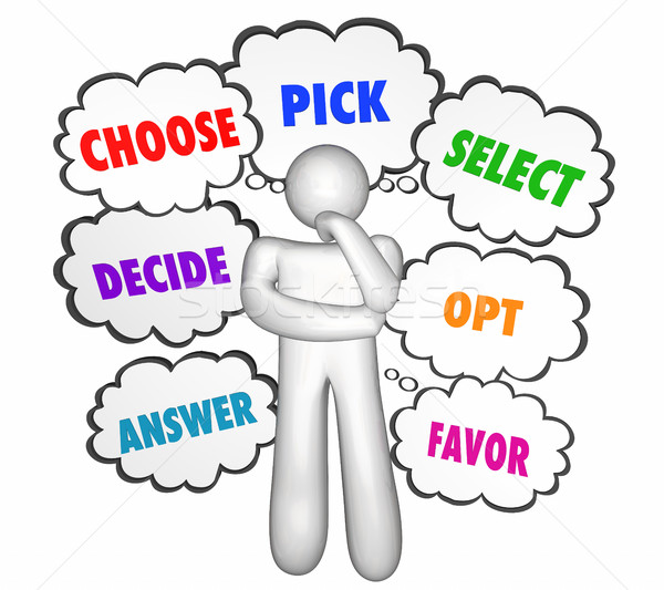 Choose Select Pick Options Thinker Thought Clouds 3d Illustratio Stock photo © iqoncept