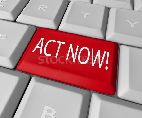 Act Now Red Key on Computer Keyboard Urgent Action Stock photo © iqoncept
