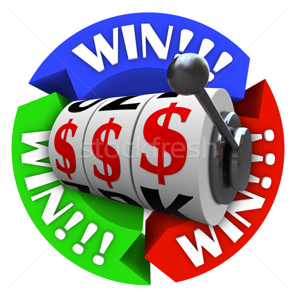 Win Circle with Slot Machine Wheels and Money Signs Stock photo © iqoncept