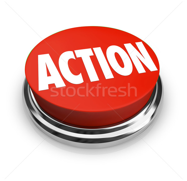 Stock photo: Action Word on Red Round Button Be Proactive