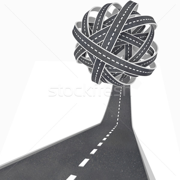 Tangled Ball of Roads - Congestion and Confusion in Travel Stock photo © iqoncept