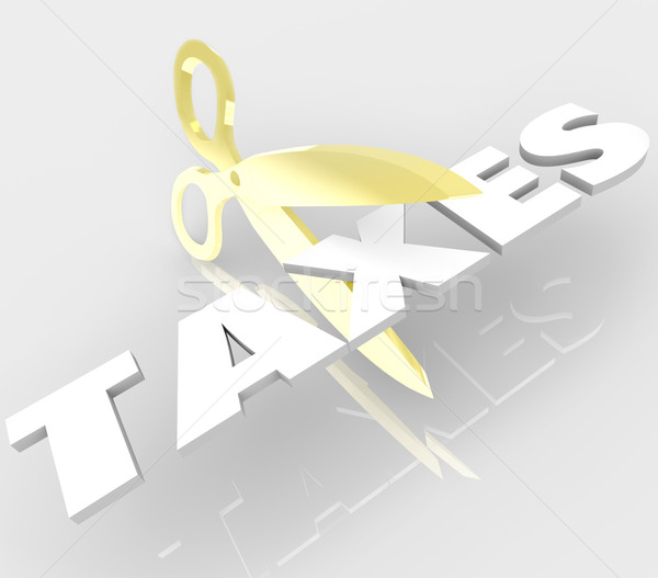 Scissors Cutting Taxes Word Cut Your Tax Costs Stock photo © iqoncept