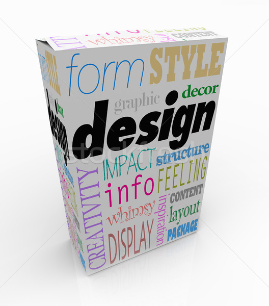 Graphic Design Words Product Box Package Visual Communication Stock photo © iqoncept