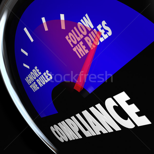 Compliance Gauge Measuring Following Rules Compliant Stock photo © iqoncept