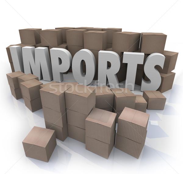 Imports Cardboard Boxes International Trade Warehouse Stock photo © iqoncept