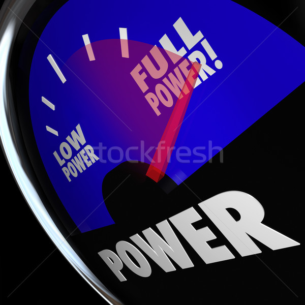 Vol macht brandstofmeter sterkte gespierd energie Stockfoto © iqoncept