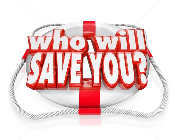 Salvar vida ajudar resgatar palavras ilustrar Foto stock © iqoncept